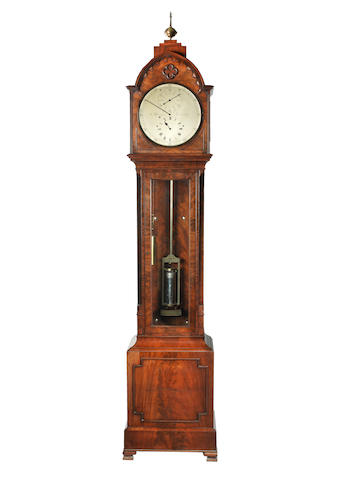 A  mid 19th century mahogany floorstanding regulator with mercury jar pendulum  G. Burton, Grimsby