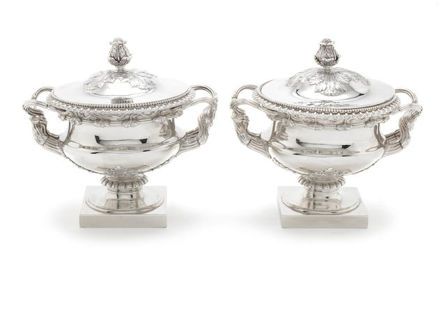Pr Paul Storr silver sauce tureens and covers (4)
