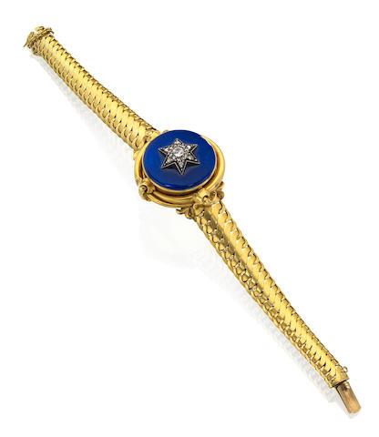 A mid 19th century diamond and enamel bracelet