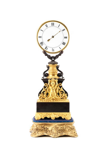 A rare mid 19th Century French gilt and patinated bronze mystery clock Robert-Houdin