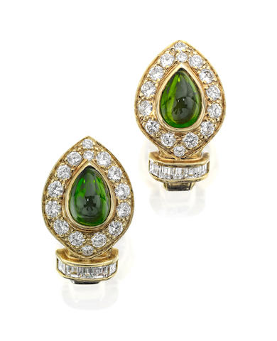 A pair of tourmaline and diamond earrings