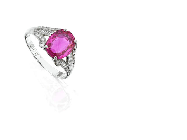 An early 20th century pink sapphire and diamond ring