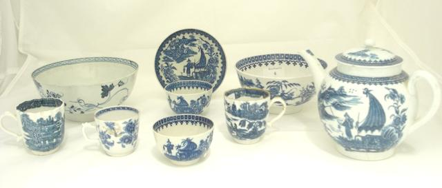 A collection of English blue and white teaware Late 18th century