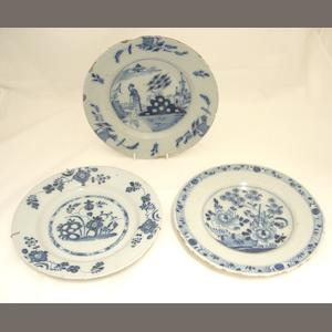 Three delft plates Mid 18th century