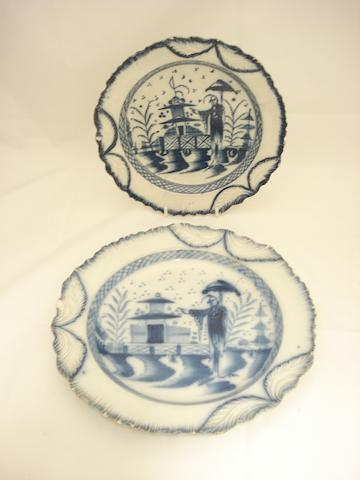 Two pearlware blue and white plates Early 19th century