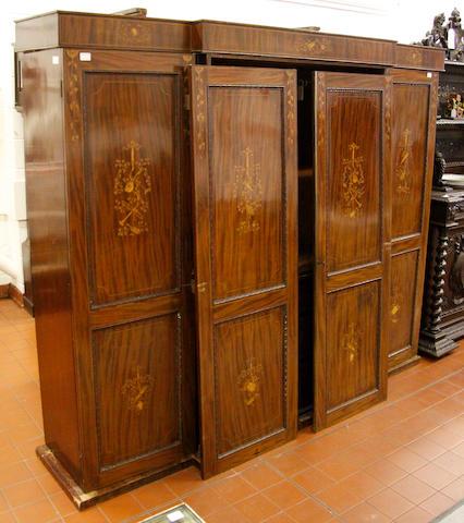 A Victorian mahogany and marquetry breakfront wardrobe,