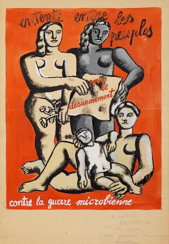 Fernand Léger (French, 1881-1955) Composition aux quatre figures, affiche pour l'entente entre les peuples pour le désarmement contre la guerre microbienne