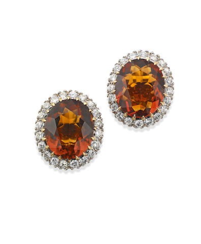 A pair of citrine and diamond earrings, 1950s
