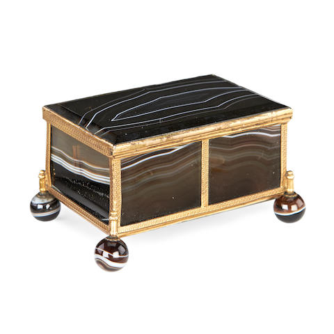 A mid 19th century French agate and gilt metal mounted casket