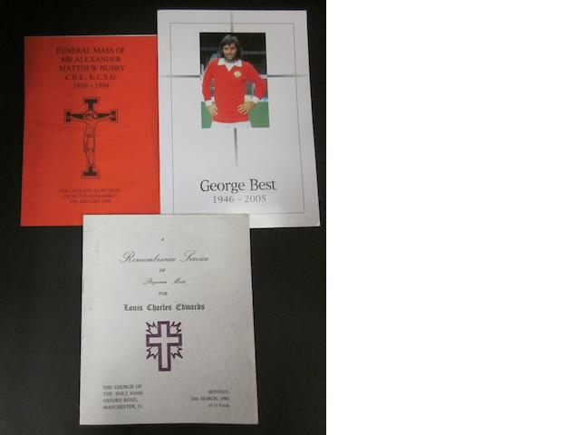 Order of services for the funerals of George Best, Lousi Charles Edwards, Sir Alexander Matthew Busby