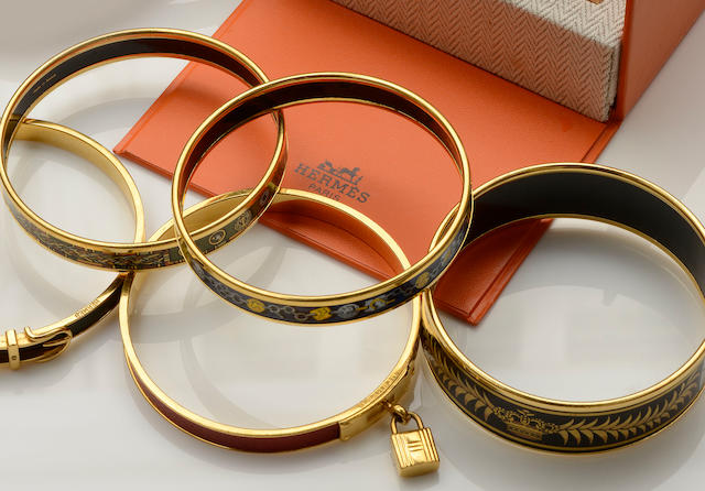 Hermès: A collection of bangles and earclips