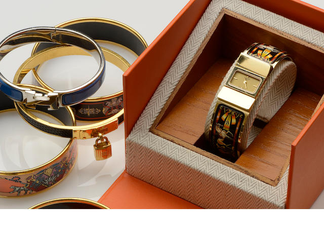 Hermès: A lady's bangle watch and a collection of jewellery