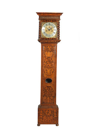 A fine late 17th century walnut and marquetry longcase clock of one month duration  Daniel Quare, London
