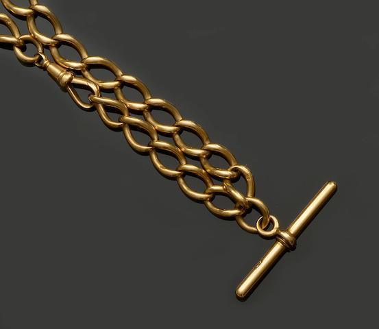 An 18ct gold Albert chain