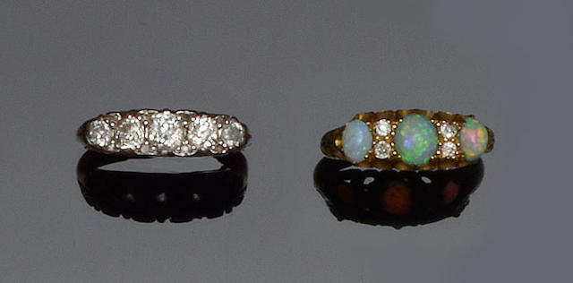 A diamond and opal ring and a diamond five stone ring (2)