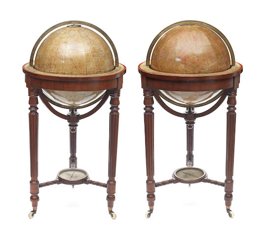 A pair of 18-inch Thomas Malby library globes,  English,  published 1860,  (2)