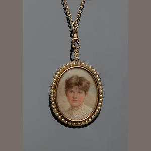 A late Victorian half pearl swivel locket pendant on chain (2)