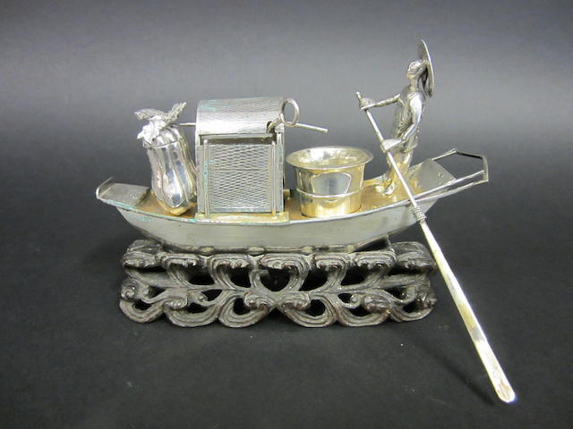 A Chinese silver novelty cruet by KMS, character marks, untraced, circa 1890
