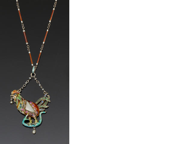 An Austro-Hungarian enamel and vari gem-set pendant necklace