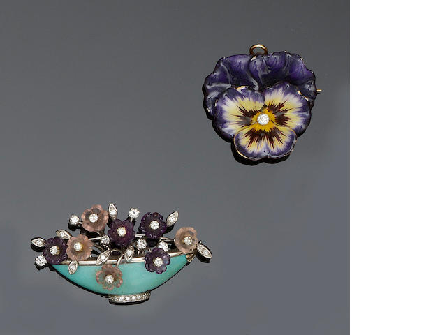 An enamel pansy brooch/pendant and a gem set giardinetto brooch (2)