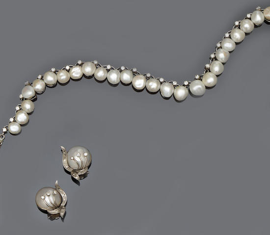 A freshwater pearl and diamond necklace and a pair of mabé pearl and diamond earclips (2)