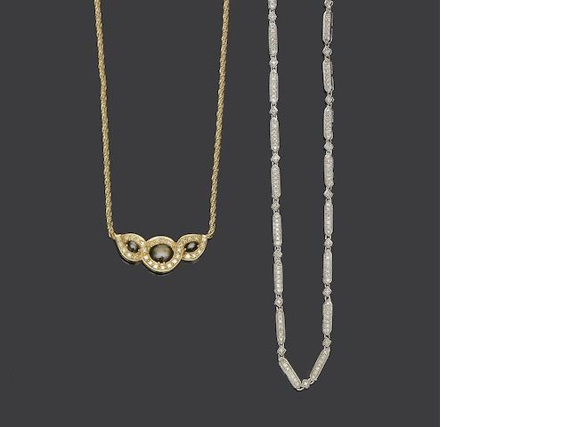 Two diamond set necklaces (2)