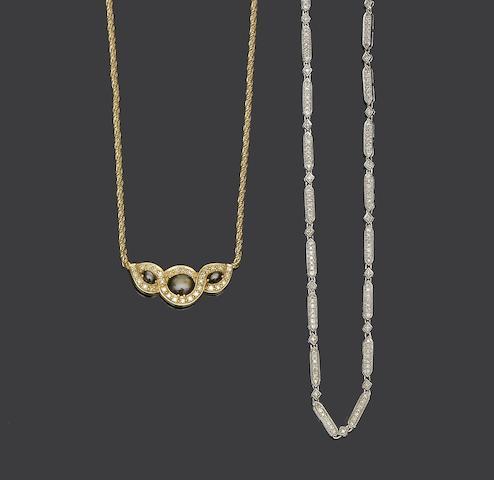Two diamond set necklaces (2)