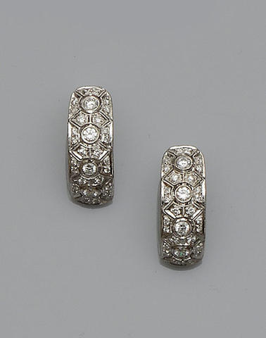 A pair of Art Deco style earrings