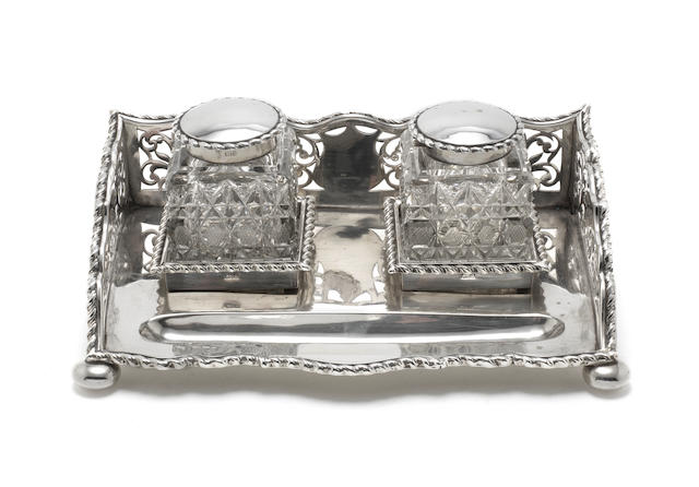 An Edwardian  silver desk stand by George Nathan & Ridley Hayes, Chester 1903  (3)