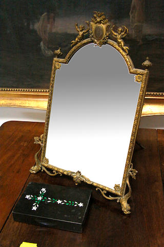 A French gilt metal easel mirrorlate 19th Century
