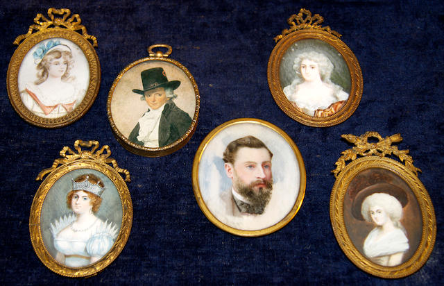 Five various miniature portrait paintingslate 19th/early 20th Century