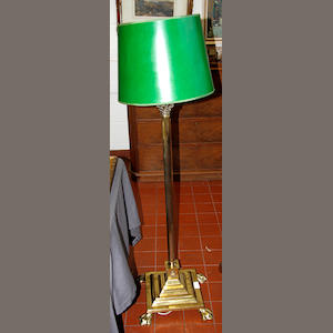 A brass Corinthian column standard lamp early 20th Century