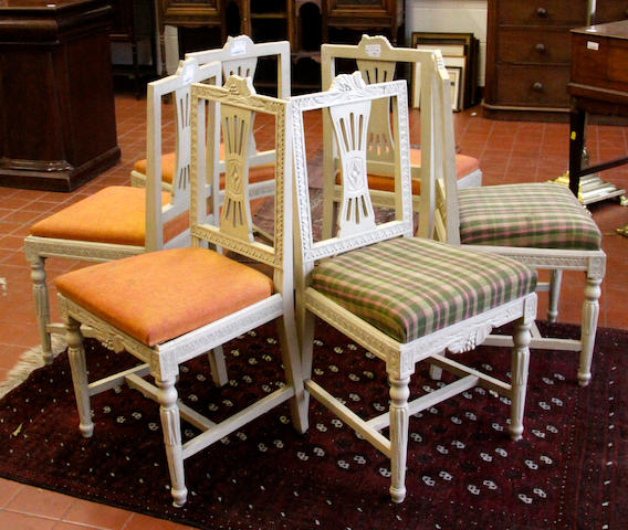 A set of six Swedish painted pine dining chairs 20th Century