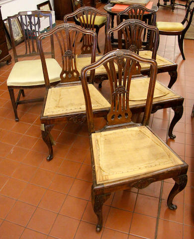 A set of five Hepplewhite style mahogany dining chairs 19th Century