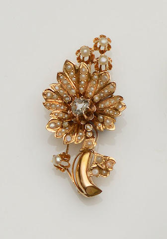 A diamond and seed pearl floral spray brooch