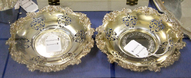 A pair of mid Victorian silver gilt decanter coasters James Dixon & Son, Sheffield 1853  (2)