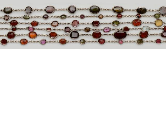 Three vari gem-set necklaces (3)