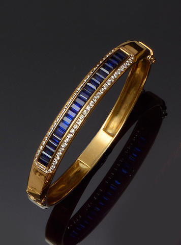 A sapphire and diamond bangle