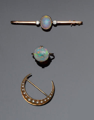 An opal ring, an opal and diamond bar brooch and a crescent brooch (3)