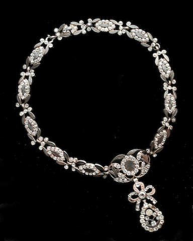 A Continental 19th century white paste necklace