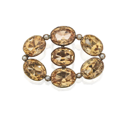 A 19th century topaz and seed pearl brooch