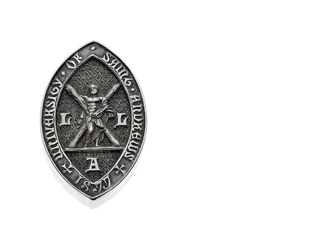 A Victorian 'Ladies Literate in Arts' badge for The University of St Andrews, Edinburgh 1883