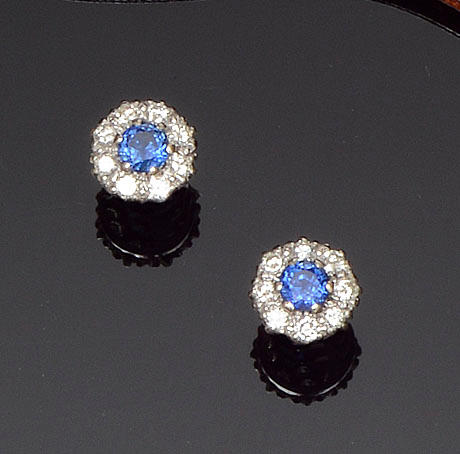 A pair of sapphire and diamond cluster earstuds