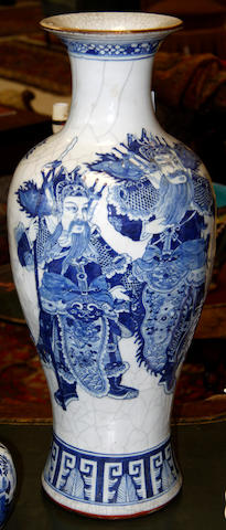 A Chinese blue and white baluster vase