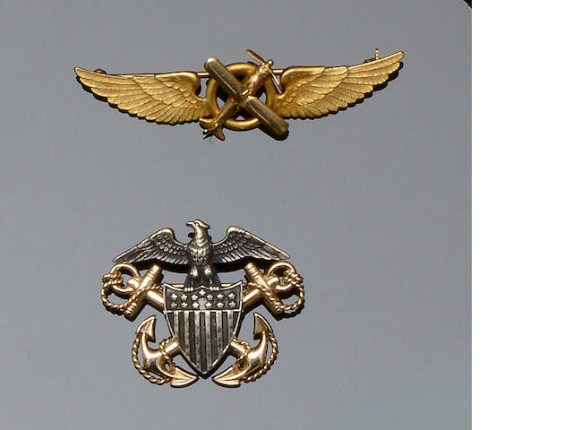 Tiffany & Co: An American Regimental insignia brooch and a wings brooch (2)