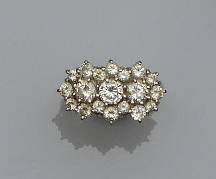 A diamond triple cluster ring, circa 1970
