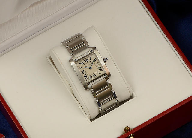 Cartier: A lady's stainless steel Tank Francaise wristwatch2002