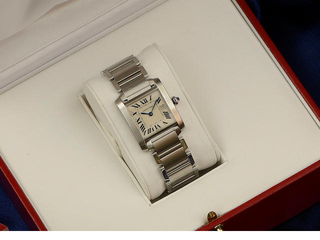 Cartier: A lady's stainless steel Tank Francaise wristwatch 2002