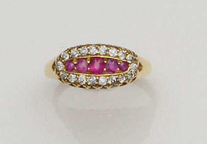 A late Victorian ruby and diamond ring