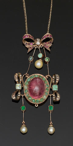 A Continental vari gem-set pendant